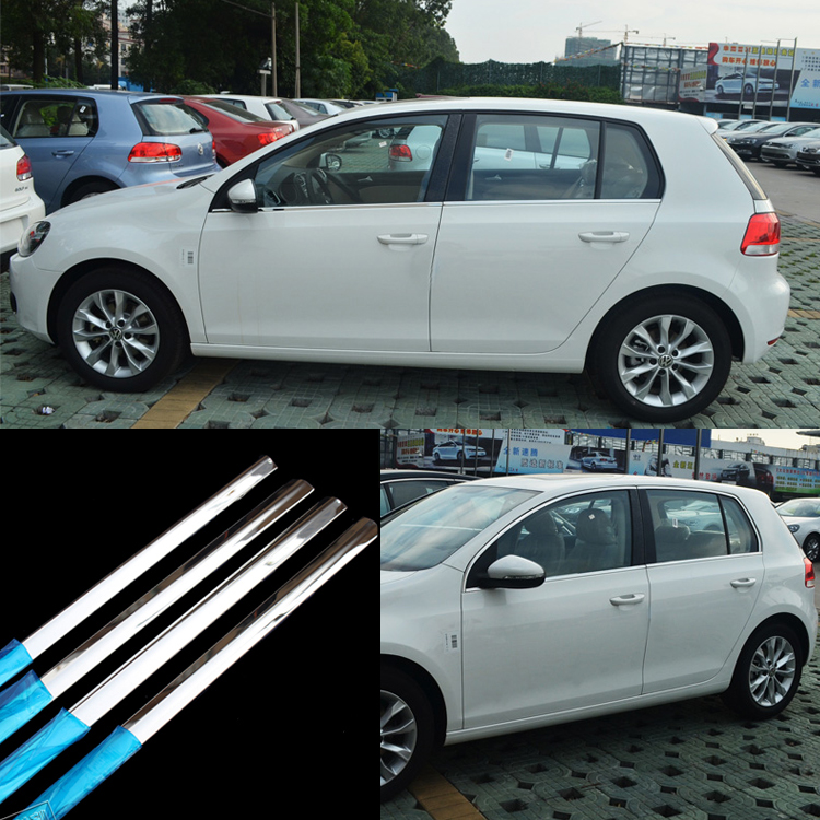 Ipoboo 8pcs Stainless Steel Door Window Frame Sill Molding Trim For VW Golf 6 stainless steel upper window frame sill trim 8pcs for fusion mondeo 2013 2014
