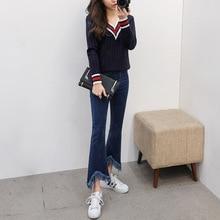 Весна 2018 Ретро женские узкие джинсовые брюки синие джинсы с высокой талией женские повседневные винтажные Джинсы бойфренда для мамы корейские 1VM501-506