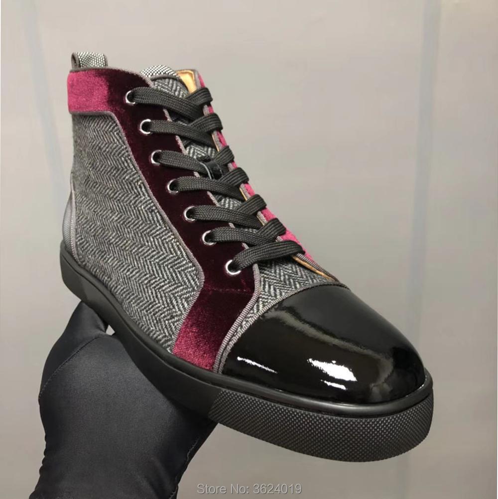 Rouge Vache Avec Rivets Armure Cuir Up En Casual High Peau Sans Noir De Fond Chaussures Vin Dentelle Hommes Cut Sneakers Clandgz wZZvIY
