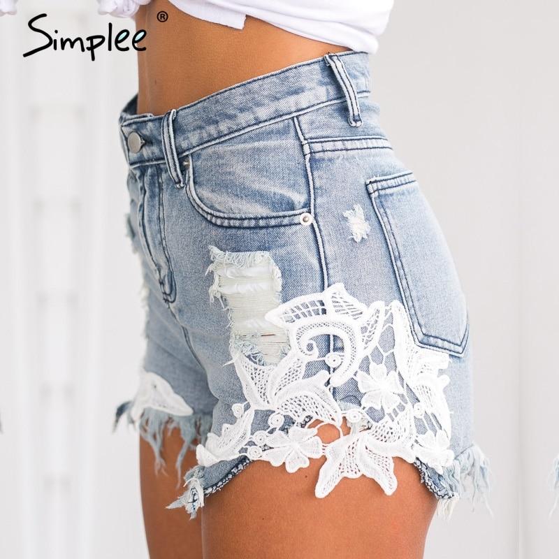 Simplee 2018 ripped pocket women   shorts   Summer casual denim   shorts   vintage hot   shorts   denim   shorts   for women