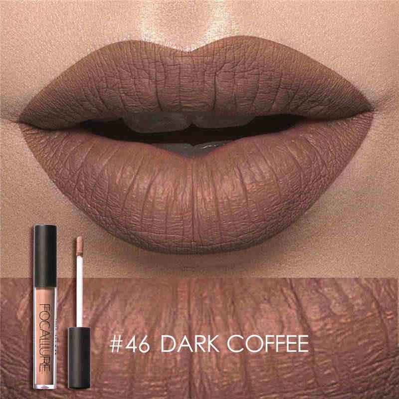 Focallure lápiz labial cosmético a prueba de agua pigmento de pintalabios color desnudo juego de brillo de labios mate líquido maquillaje de belleza