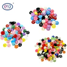 HL 50/100/200pcs 6/8/10mm Mixed Decoration Handicrafts Resin With Rhinestones Scrapbook DIY Accessories Flatback Buttons