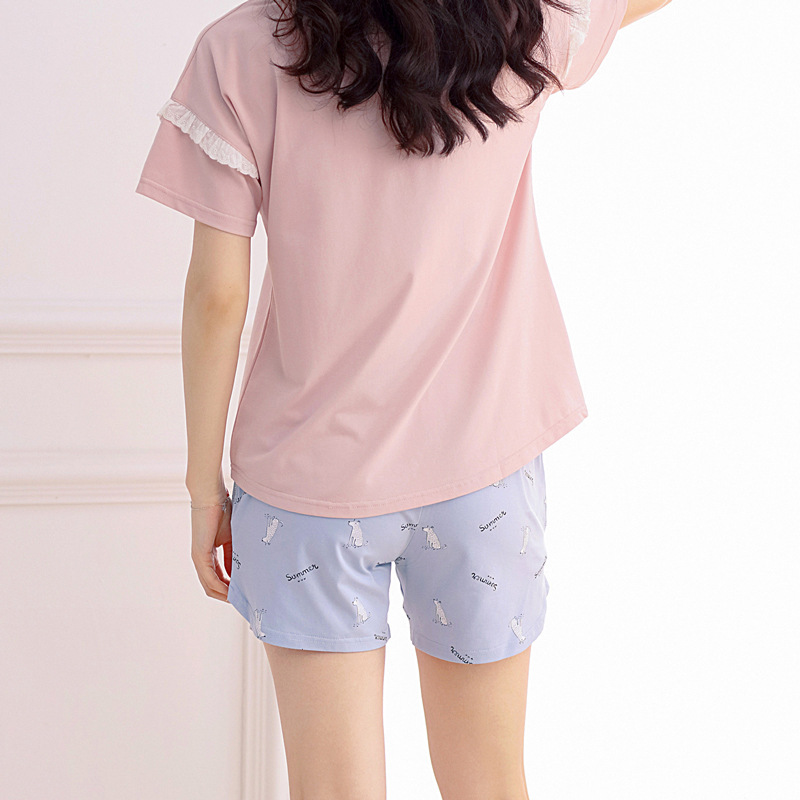 Pink Pajamas Girls Women Print Lace Patchwork 2 Pieces Set Short Sleeve  Elastic Waist Cotton Sleepwear Lounge pyjamas S83944-in Pajama Sets from  Underwear ... 68d98d0b6