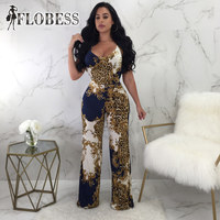 2018 Sexy Halter Fashion Bodycon Wide Leg Jumpsuits Bodysuit Women Party Romper Leopard Print Prom Playsuit NightClub Wear