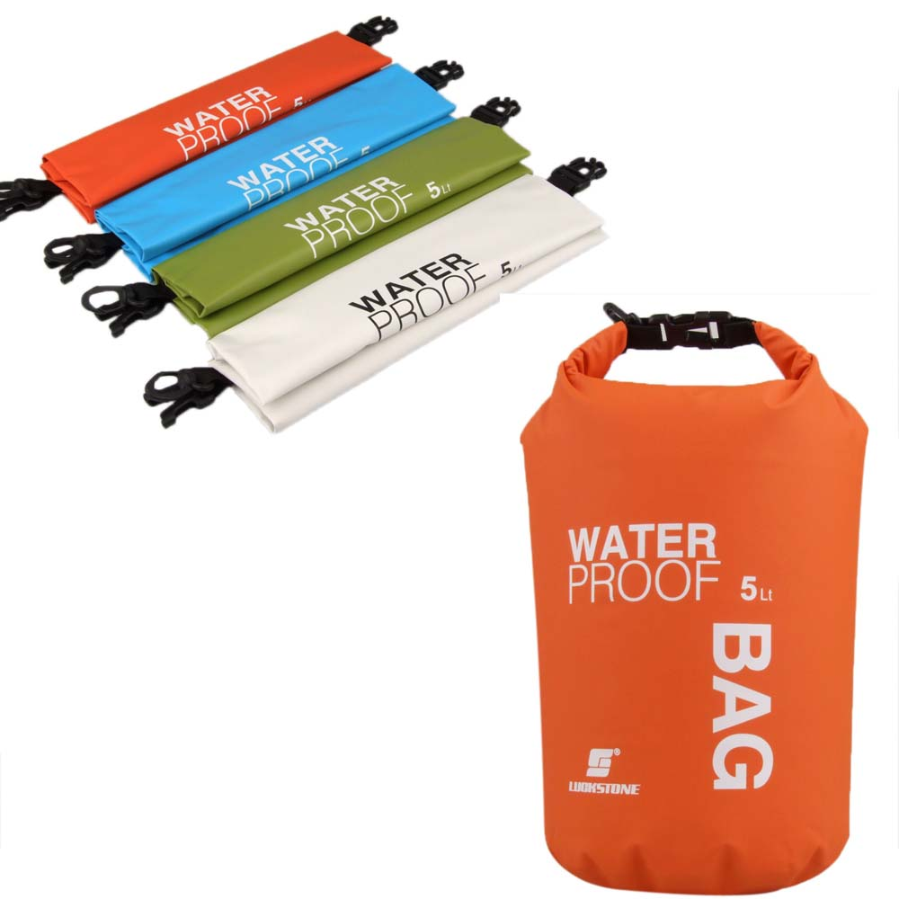 Prix pour 5L Portable Ultra-Léger Camping En Plein Air Voyage Rafting Étanche Dry Sac De Natation Voyage Sacs Kit Orange/Blanc/Vert/bleu