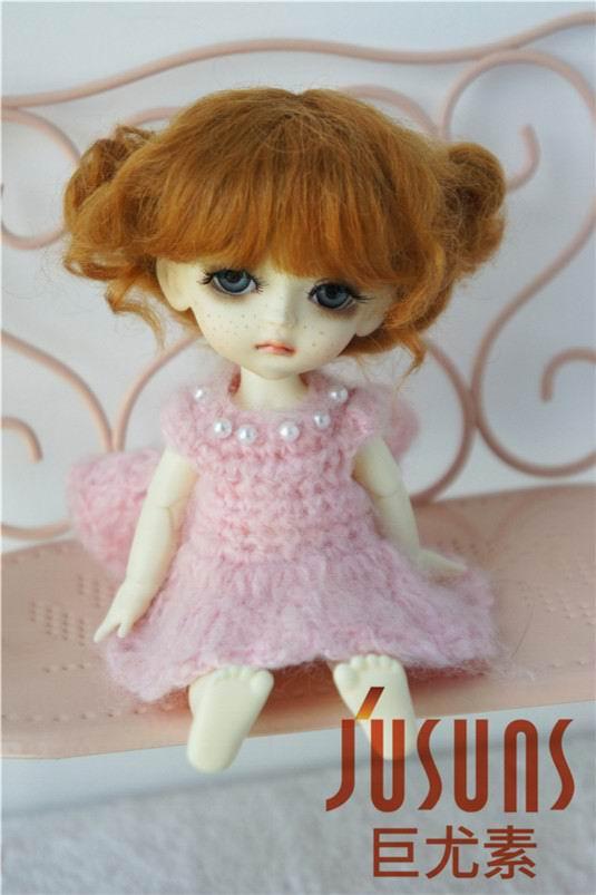 JD406 1/8 5-6 дюймов, парик для куклы BJD, кукольный парик, прекрасные мохеровые парики, Детские два пони, парик для маленькой куклы - Цвет: Ginger M3