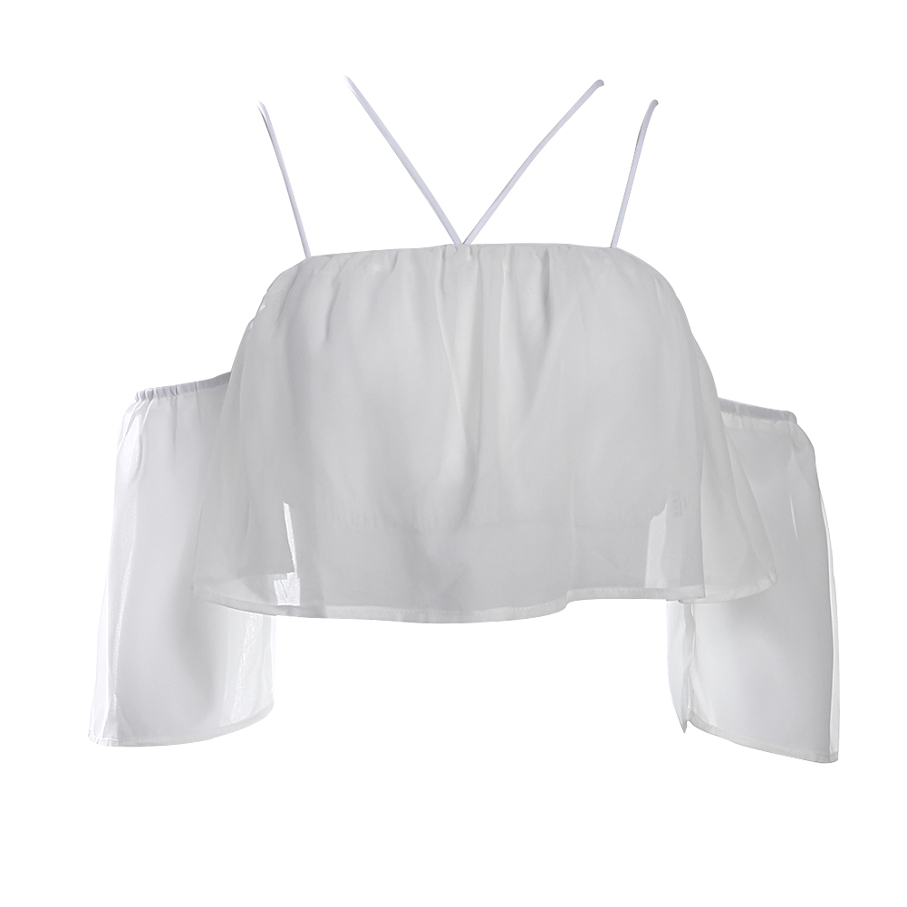 Women Fashion Summer Halter Off Shoulder Brief Ruffled Short Sleeve Chiffon Tops Short Blouse