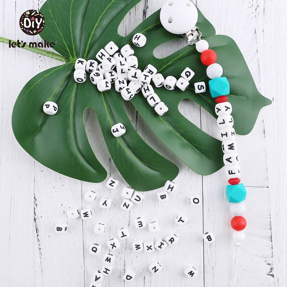 Image 5 - 10mm 100pc Silicone Beads Letter Alphabet Infant Sensory Beads Food Grade Silicone Beads DIY Teething Tiny Rod Baby TeetherBaby Teethers   -