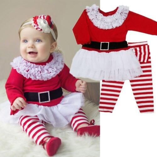 Navidad Santa Claus traje de bebés de los niños de encaje de dos piezas trajes Set