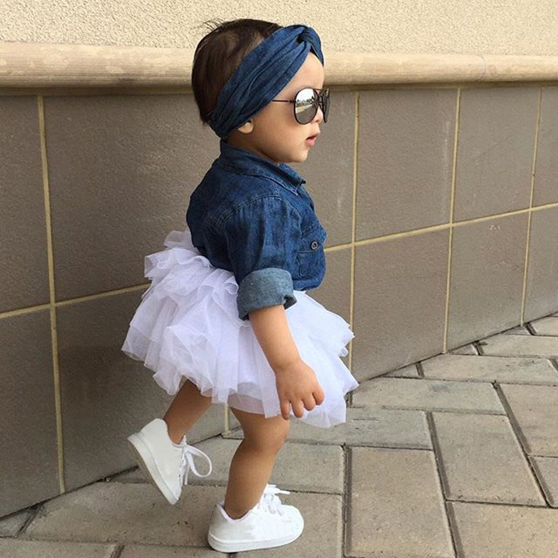 3 UNIDS Toddler Kids Baby Girl Ropa Set Denim Tops T-shirt + Tutu Falda Diadema Trajes Summer Cowboy Suit Niños Set