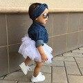 3PCS Toddler Kids Baby Girl Clothes Set Denim Tops T-shirt +Tutu Skirt Headband Outfits Summer Cowboy Suit Children Set