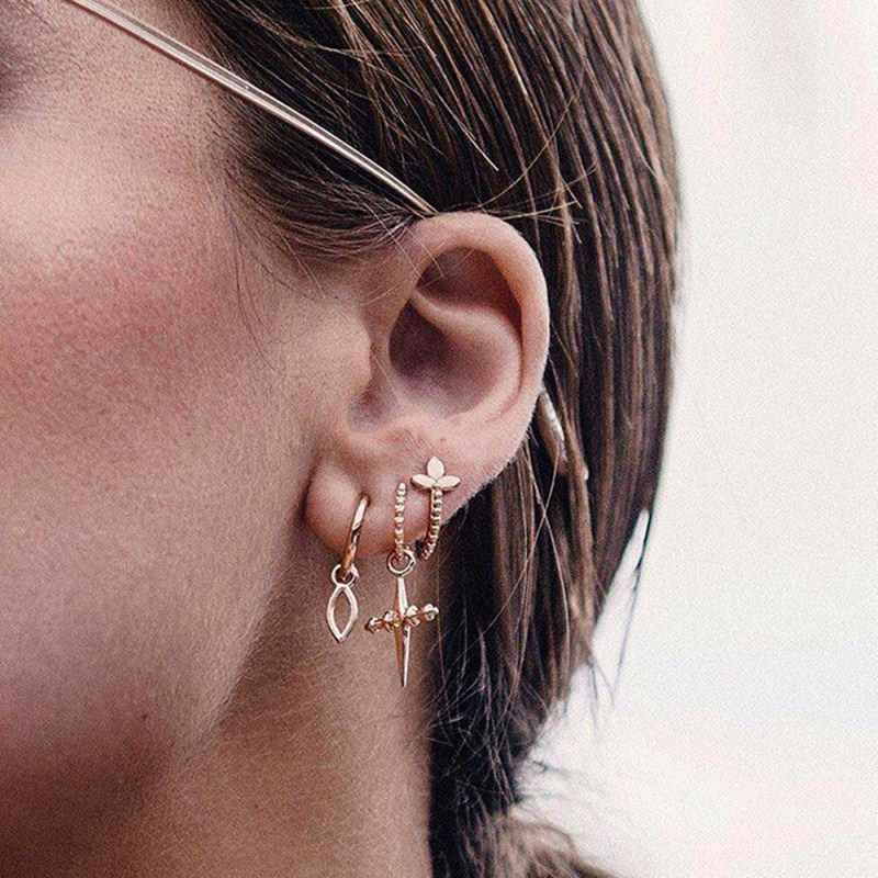 New Fashion Gold Star Moon Shape Earrings Simple Ear Ring Ethnic Jewelry Gift Crystal Round Geometric Earrings for Women Bijoux