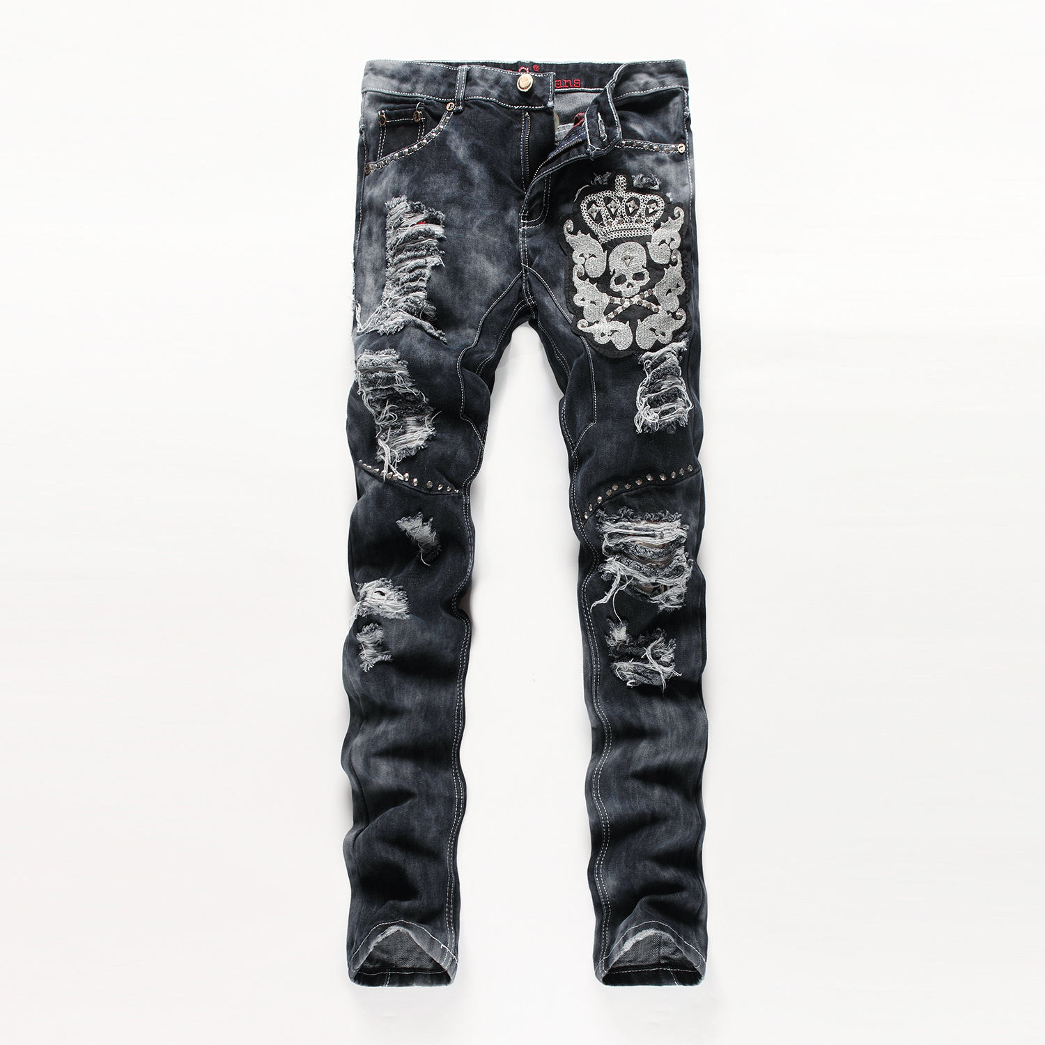 ФОТО 2016 New Fashion Men Hip Hop Ripped Jeans Regular Fit Straight Distressed Jean Trousers With Skull Embroidery Holes Stitching