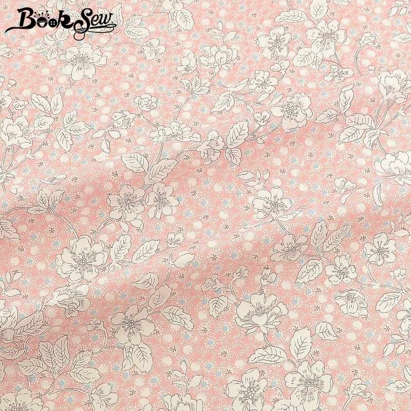 Booksew Flroal Design 100% Cotton Twill Fabric Meters Pink Cloth DIY Quilts Baby Bedsheet Sewing Ankara Patchworks Dress Tissu
