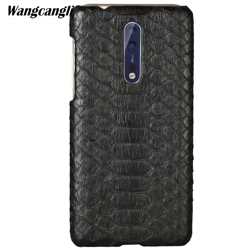 Peau de python étui de téléphone personnalisé haut de gamme pour Nokia 8 étui en cuir peau de python couverture arrière pour Nokia Lumia 930 630x6