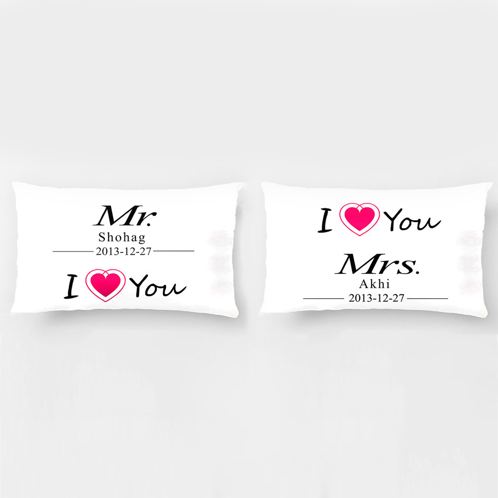 Cuscini Mr E Mrs.Custom Mr E Mrs Copertura Del Cuscino I Love You Federe Coppia