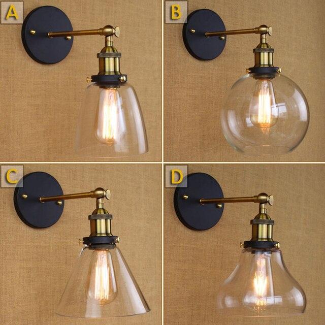US $52.5 |Vintage wandlampen E27 edison Wandleuchte badezimmer bar kaffee  licht glas Retro Industriellen loft eisen Treppen Antike wandleuchte in ...