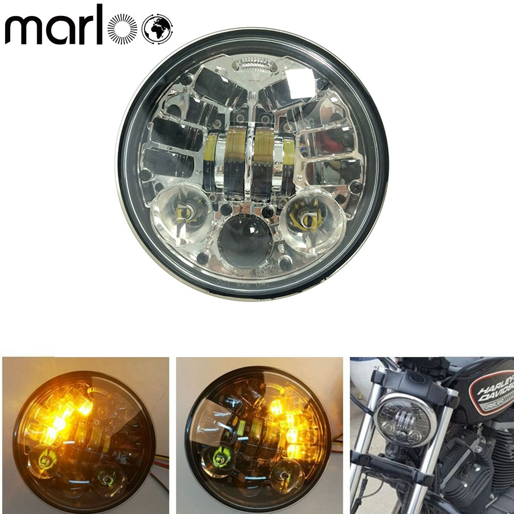 Marloo 5.75 LED Left Right Yellow ( Amber) Turn Signal Headlight For Harley Street Bob Nightster 48 Iron 883 Street 750