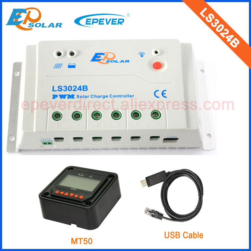 PWM solar regulator 30A LS3024B of good price with USB cable and black MT50 remote meter epsolar pwm 30a regulator solar battery ls3024b with mt50 remote meter usb cable and bluetooth function