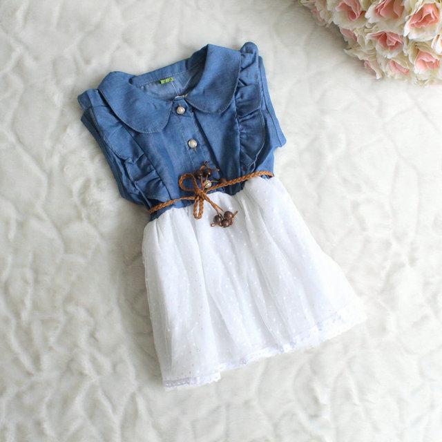 2016 NUEVOS Bebés del verano de Los Niños de La Princesa de mezclilla Vestido de niña vestidos de ropa de niños 2-5years envío gratis