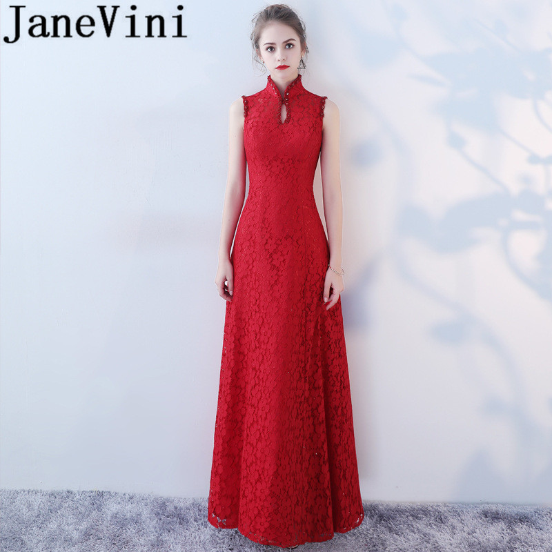 JaneVini 2018 Vintage Burgundy Long   Bridesmaid     Dresses   A Line High Neck Beaded Lace Floor Length Prom Gowns Women Formal Wear
