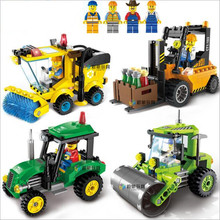 Kids Educational Construction Toys Cleaner Tractor Roller Forklift Truck DIY Building Blocks Toy Kit