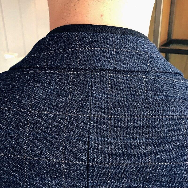 vestes Hommes D'affaires Gamme Costume Boutique Blue Gilet Décontractée Mode 2018 Bleu Marié Plaid Pantalon Haut costumes navy Nouveau De Mariage Robe qPSrqxvw