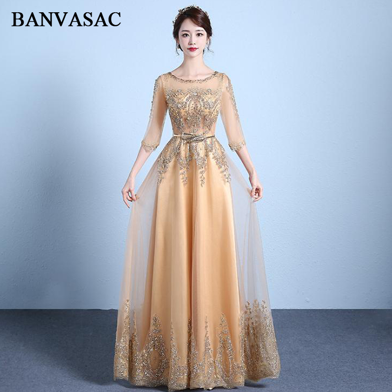 BANVASAC 2018 Crystal Illusion O Neck Lace A Line Long Evening Dresses Elegant Sequined Sash Party Prom Gowns in Evening Dresses from Weddings Events