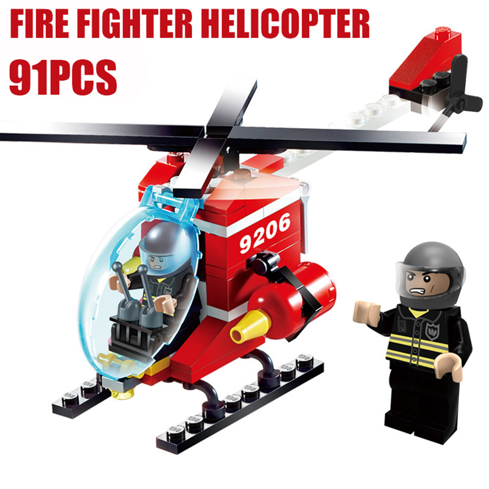GUDI Fire Fighter Station Helicopter Playmobile MOC Building Blocks Bricks Compatible With Legoe City Ninjago Toys For Children