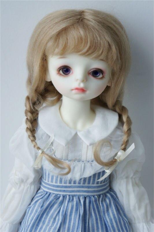 купить JD2031 1/3 23-25CM mohair BJD doll wigs 9-10 inch Long Lovly Anna braid wig 100% Long Angola mohair without extenion дешево