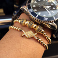 Hot summer geométrica hombres brazalete de oro plateado encanto micro pave cz cobre 2 cm fideos trenzado macrame bracelet & 4mm grano