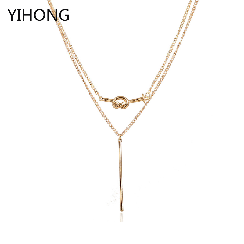 Bar Pendant Layered Necklace Double Chain Alloy Pendant Fashion Simple Choker for Women Cloth Accessories
