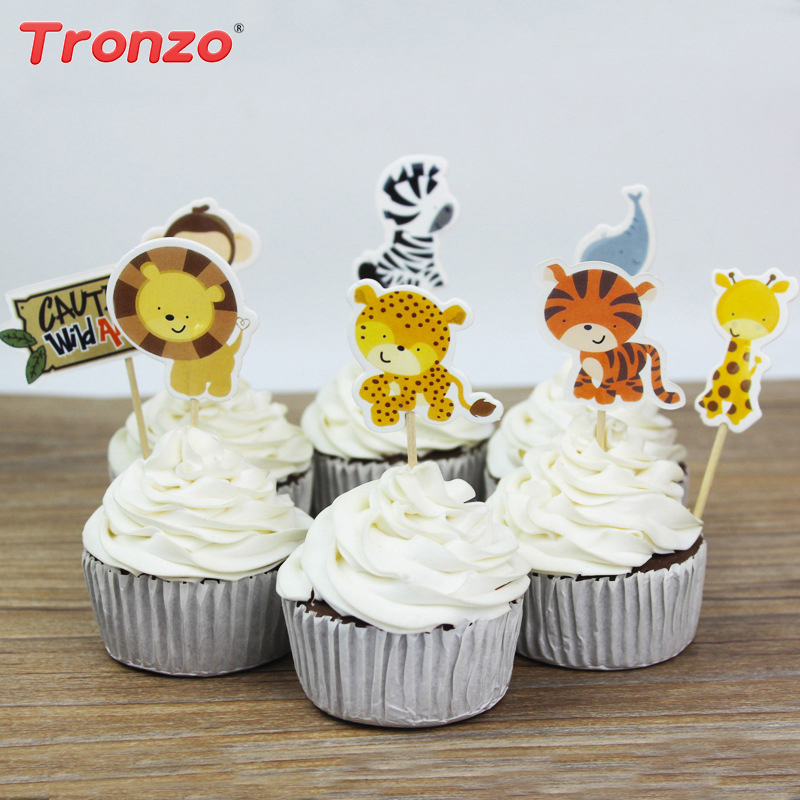 Tronzo 24pcs/set Animal Cupcake Toppers Birthday Party Supplies Funny Dinosaur Cake Accessory Picks Event Party Decoration
