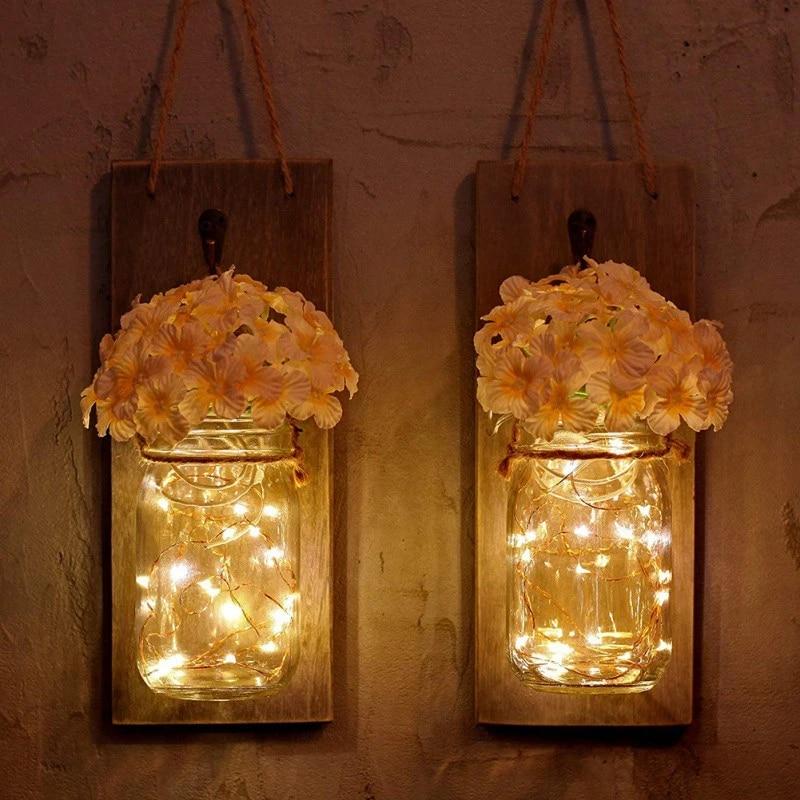 Fake Flower Wall Decor Wall Led String Light Rustic Wall Lamp Bottle Home Decoration Mason Jar Fairy Garland String Lights Artificial Dried Flowers Aliexpress