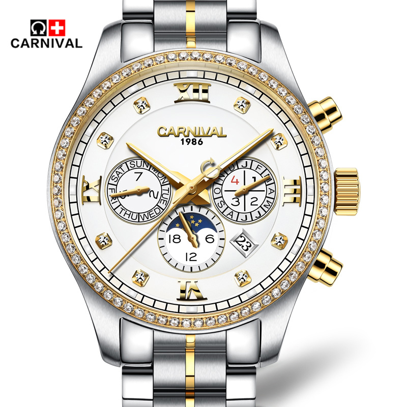 Luxury Carnival Brand Moon Phase Mechanial Men Watch Diamond Dual Calendar Multi-Function Stainless Steel Waterproof Gold Clock blue indian luxury headpieces king queen unisex cosplay costumes diamond feather headdress for women and men peagents carnival