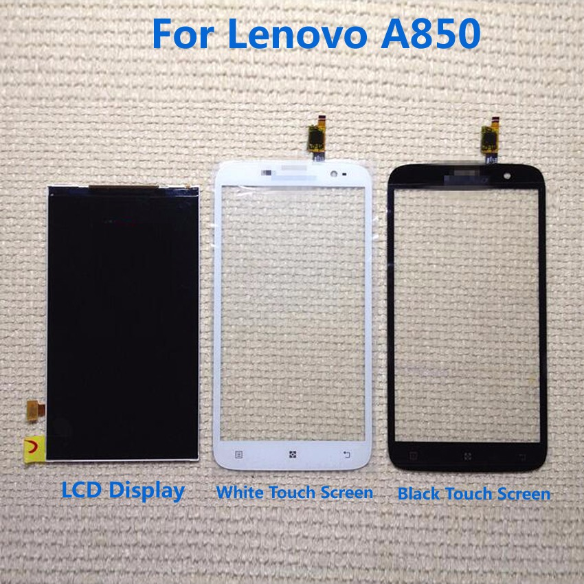 TOP Quality Black/White Touch Screen Digitizer + LCD Display Screen Panel For Lenovo A850 Phone Replacement Repair Parts