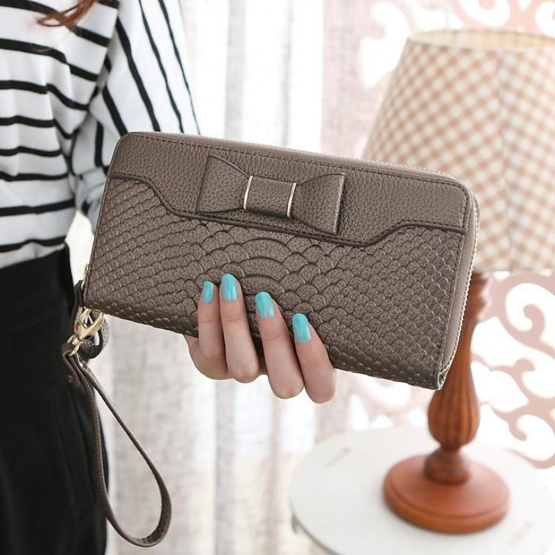 Hot Sale Women Lady Long Wallets Purse Female Candy Color Bow PU Leather Carteira Feminina for Coin Card Clutch Bag 2016 hot fashion women wallets handbag solid pu leather long bag designer change clutch lady brand cash phone card coin purse