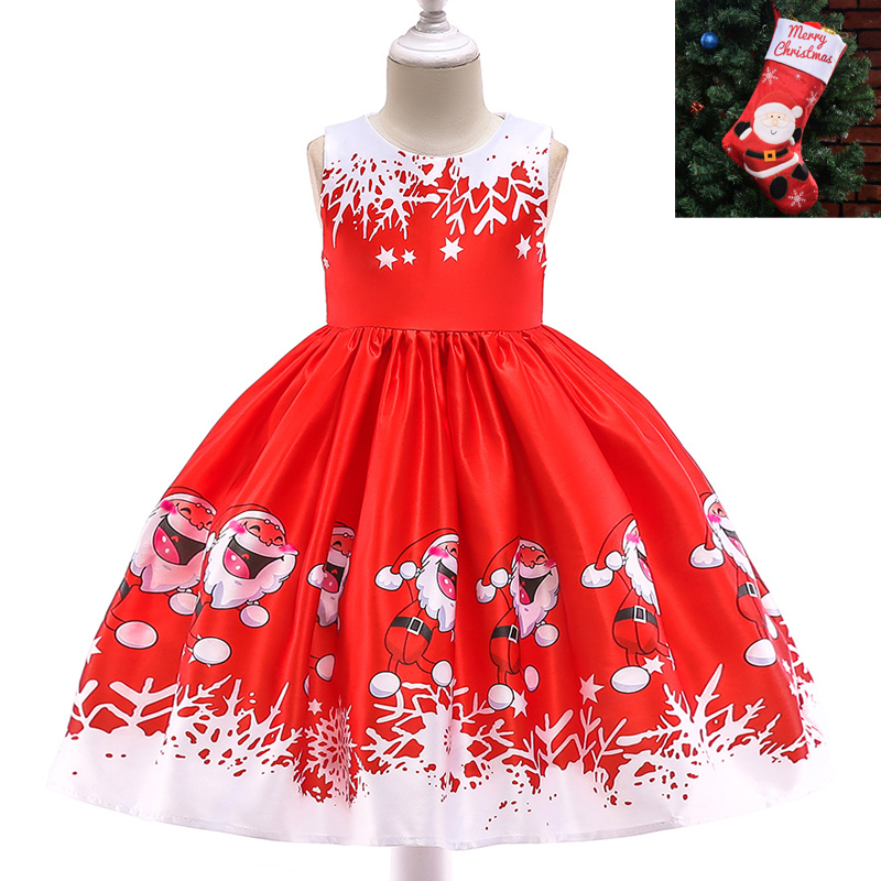 New Year Baby Girls Christmas Dress Baby Snowman Holiday Children Clothing Party Kids Santa Claus Xmas Costumes Socks Gifts