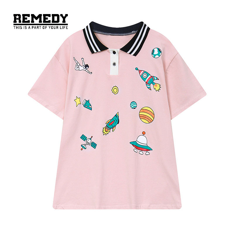 2017 high quality summer ufo printing women t shirt pink for Best quality shirts to print on