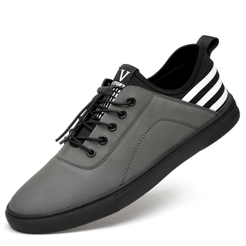 BACKCAMEL 2018 Couro Genuíno Sapatos Casuais Homens Baixo Preto Listrado Respirável Planas Loafers Preguiçosos Calçados vulcanizados Tamanho 38-44 hot