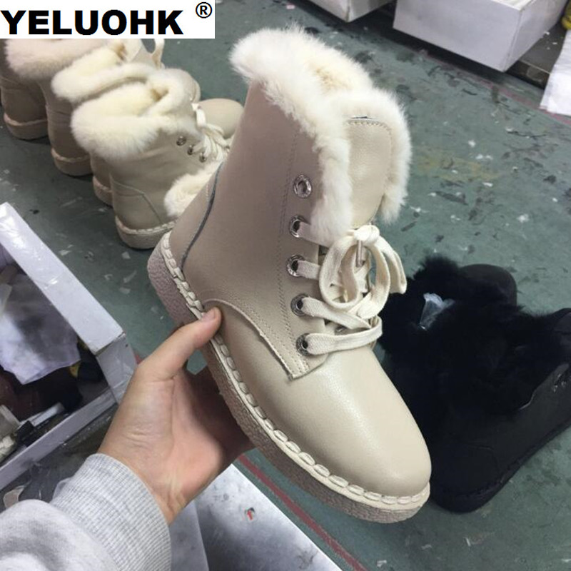 New Snow Boots Female Winter Shoes Warm High Boots Winter Women Leather Plush Ankle Boots For Women With Fur Waterproof