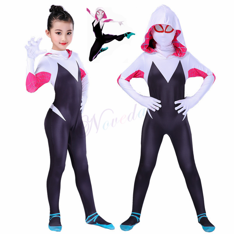 3D Kids Women Spiderman Spider Gwen Costume Gwendolyn Maxine Stacy Zentai Suit Spidergirl Cosplay Halloween Costumes For Girls