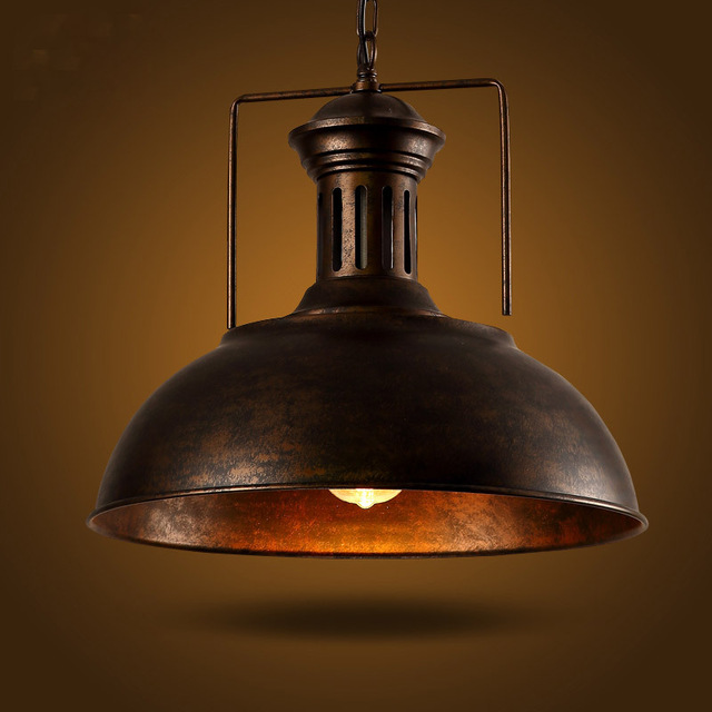 ФОТО 2015 LOFT bar pendant light creative personality retro American Iron Cafe Restaurant lid Nordic