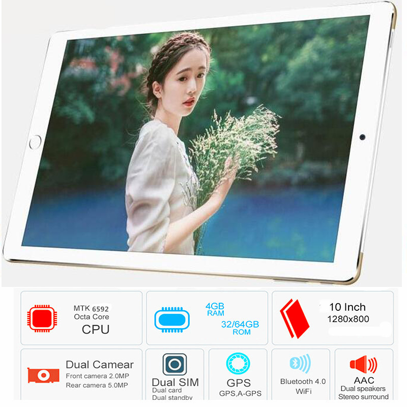 2019 CARBAYTA P80 10.1' Tablets Android 6.0 8 Octa Core Camera Dual SIM Tablet PC WIFI OTG GPS Google Bluetooth Phone ROM 32GB