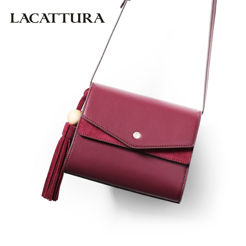 LACATTURA Luxury Tassels Handbag Crossbody for Women Bag Designer Leather Young Shoulder Bags Fashion Messenger Bag Lady Clutch lacattura small bag women messenger bags split leather handbag lady tassels chain shoulder bag crossbody for girls summer colors