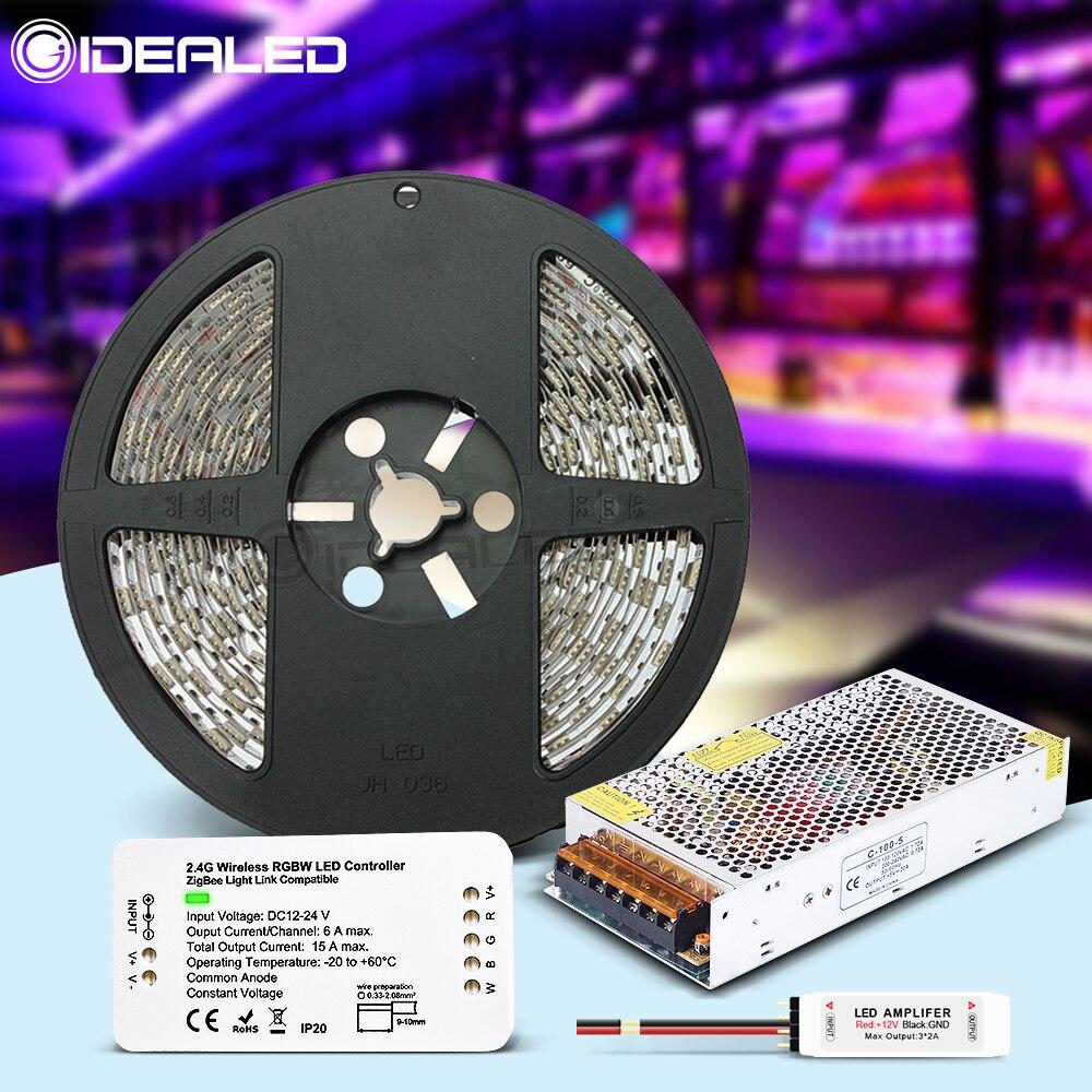 ZIGBEE RGB LED bande ZIGBEE RGBW LED de contrôle gradateur DC12V 24V ruban étanche un ensemble Compatible Alexa ECHO Plus maison Zll lumière