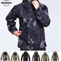 High quality Waterproof Windproof Army Clothing Shark skin Soft Shell Military Tactical camouflage Jacket set