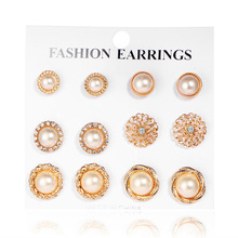2018 6pairs/set Newest Fashion Earring Bohemian Rhinestone Simulated Pearl flower Ethnic Carved Metal Stud Earring Set