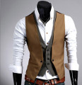 Mens Plaid Vest  Fake 2 pcs Slim Fit Waistcoat Men Men's Vest Casual Sleeveless Gilet Black  Korean Mens Vest Coletes Masculino