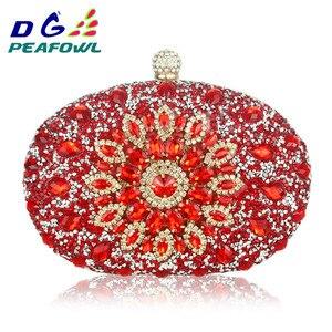 Image 1 - Luxe Clutch keten zak vrouw wedding diamond crystal Bloemen blauw rood Sling designer portemonnee mobiele telefoon zak portemonnee Handtassen
